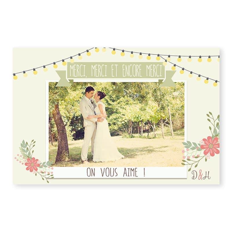Remerciements mariage Guinguette vintage guirlandes fleurs