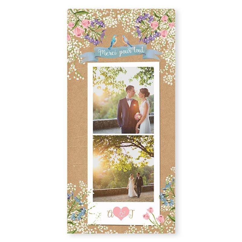 Remerciements mariage Gypsophile Romantique sur kraft fleurs chic