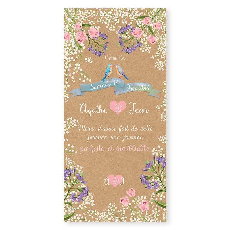 Remerciements mariage Gypsophile Romantique sur kraft fleurs chic v