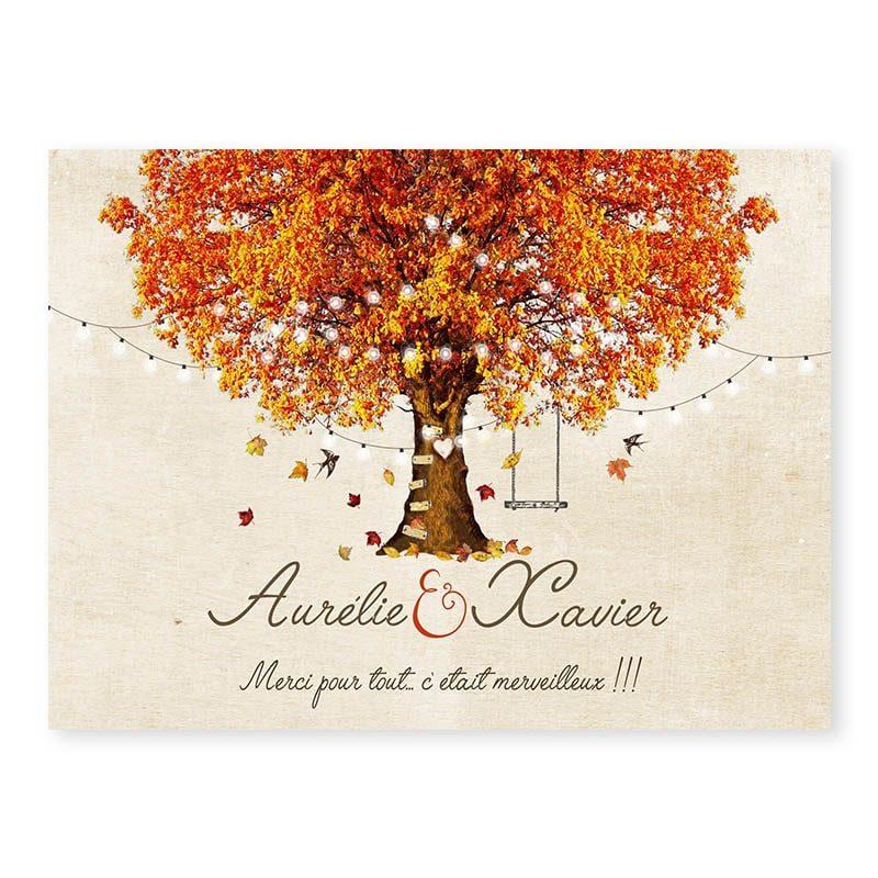 Remerciements mariage automne romantique chic arbre