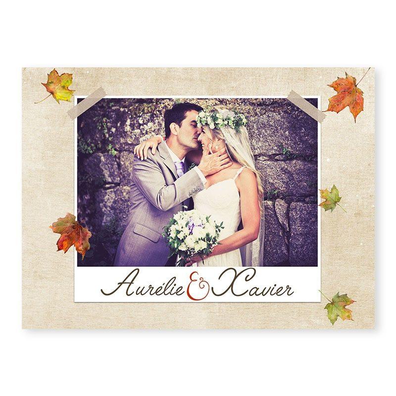 Remerciements mariage automne romantique chic arbre v