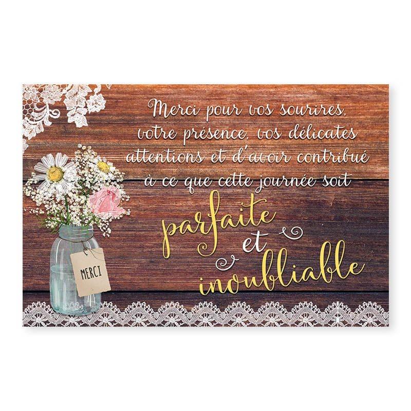 Remerciements mariage bois rustique fleurs champêtre original créatif