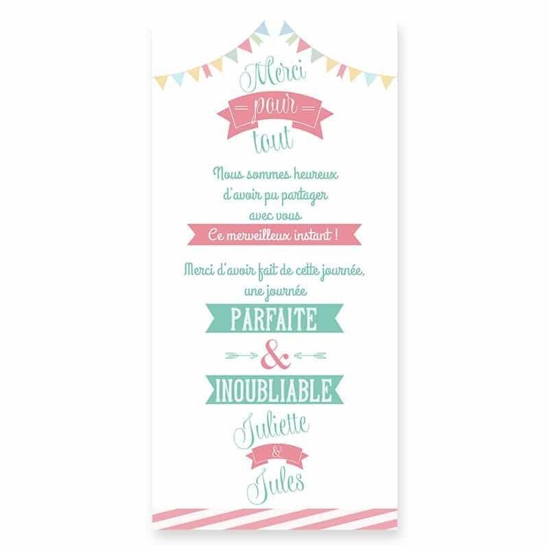 Remerciements mariage guinguette pastel fanion guirlandes