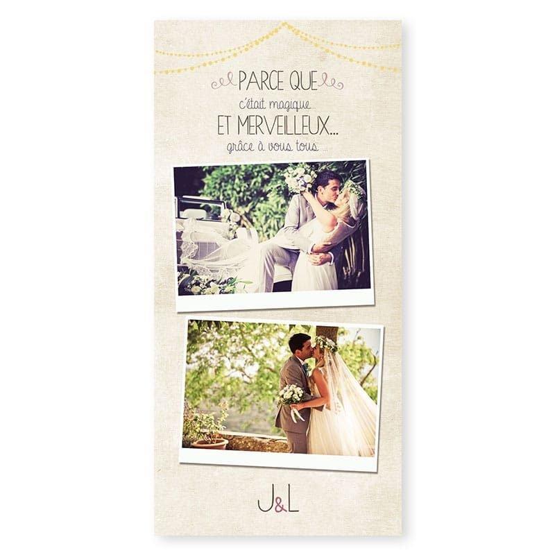 Remerciements mariage nature chic avec arbre en fleurs et photos