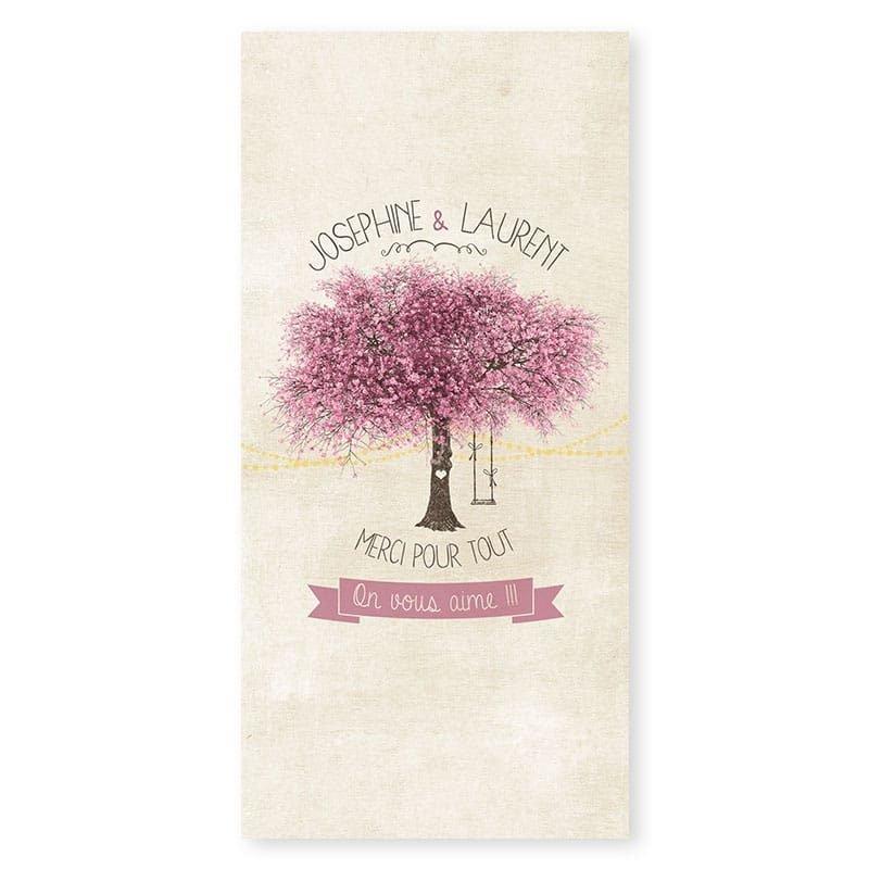 Remerciements mariage nature chic avec arbre en fleurs et photos v