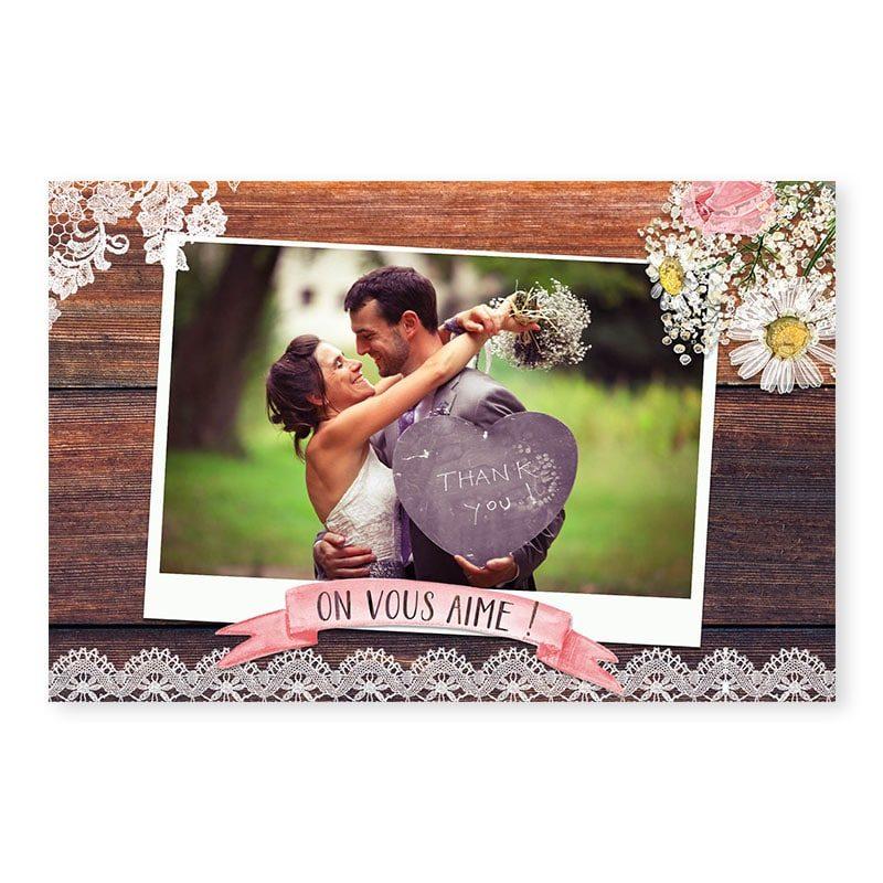 Remerciements mariage photo bois rustique fleurs champêtre original créatif
