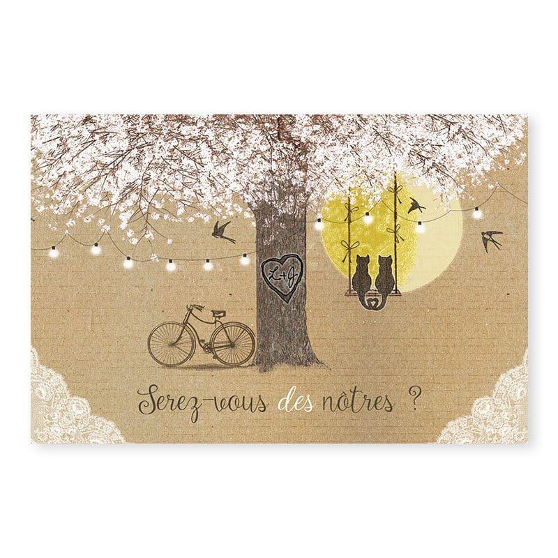 Rsvp mariage champetre chic sur kraft avec dentelle et fleurs v