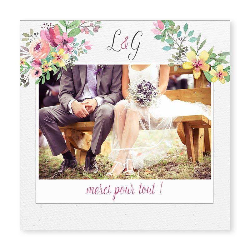 carte remerciements couronne romantique fleurs mariage avec photos