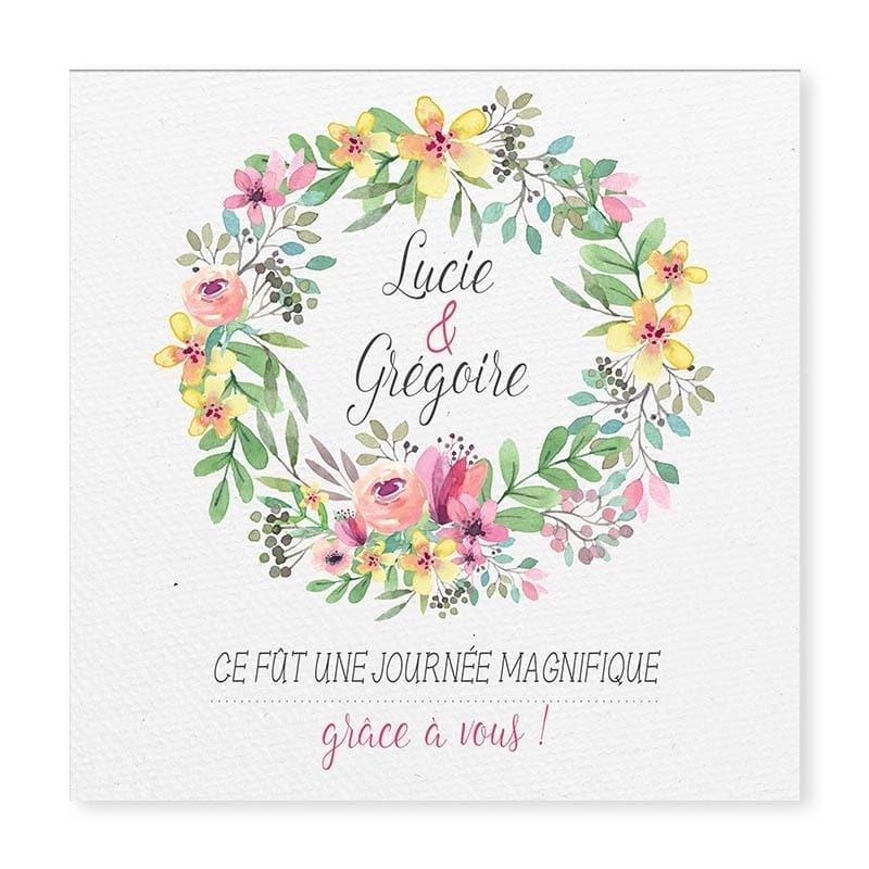 carte remerciements couronne romantique fleurs mariage avec photos v