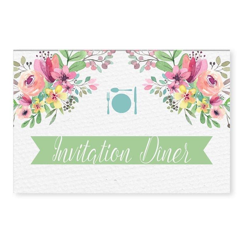 invitation repas couronne romantique fleurs pastel mariage copie