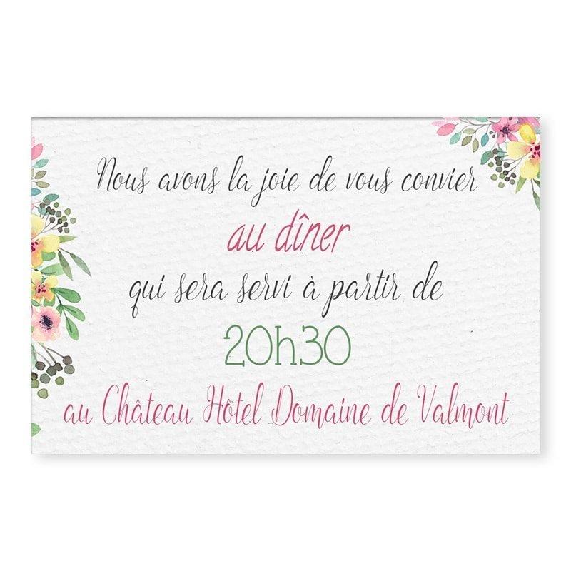 invitation repas couronne romantique fleurs pastel mariage v