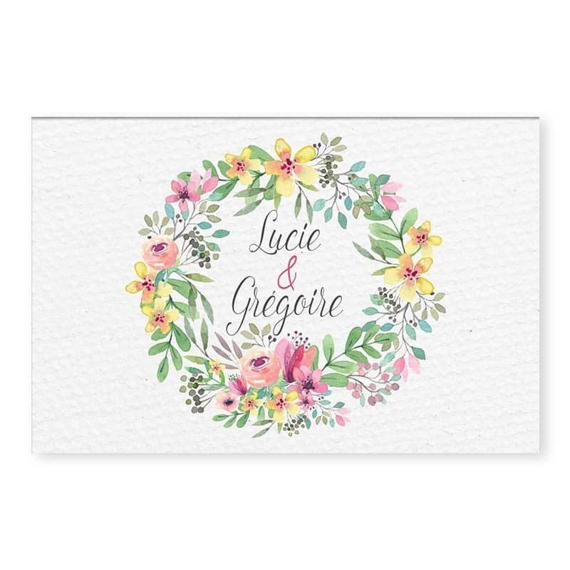 marque-place couronne romantique fleurs mariage floral r