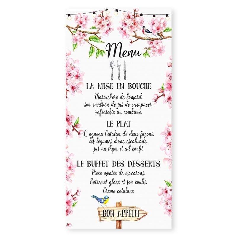menu printemps romantique fleurs cerisier champêtre chic