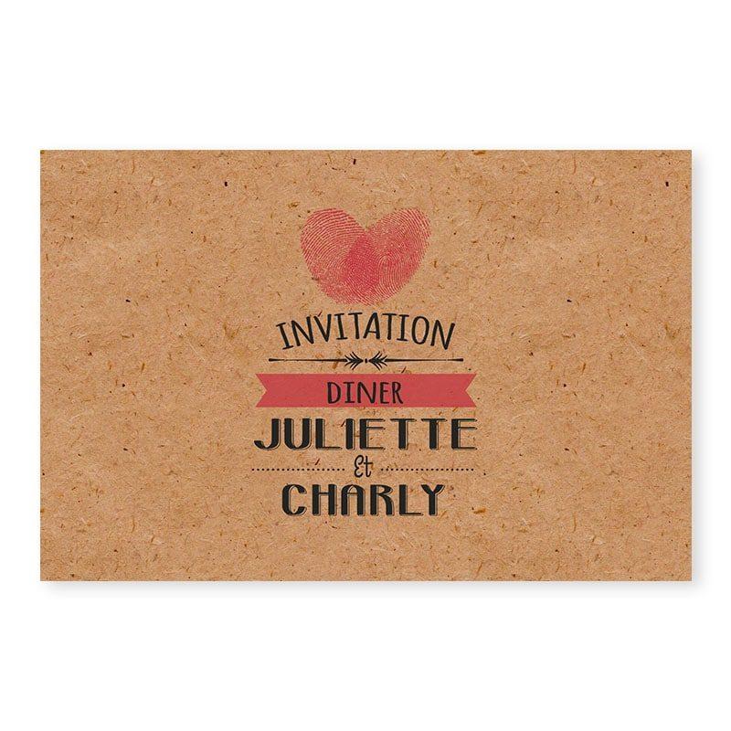 Invitation repas Empreintes Coeur sur kraft rustique v