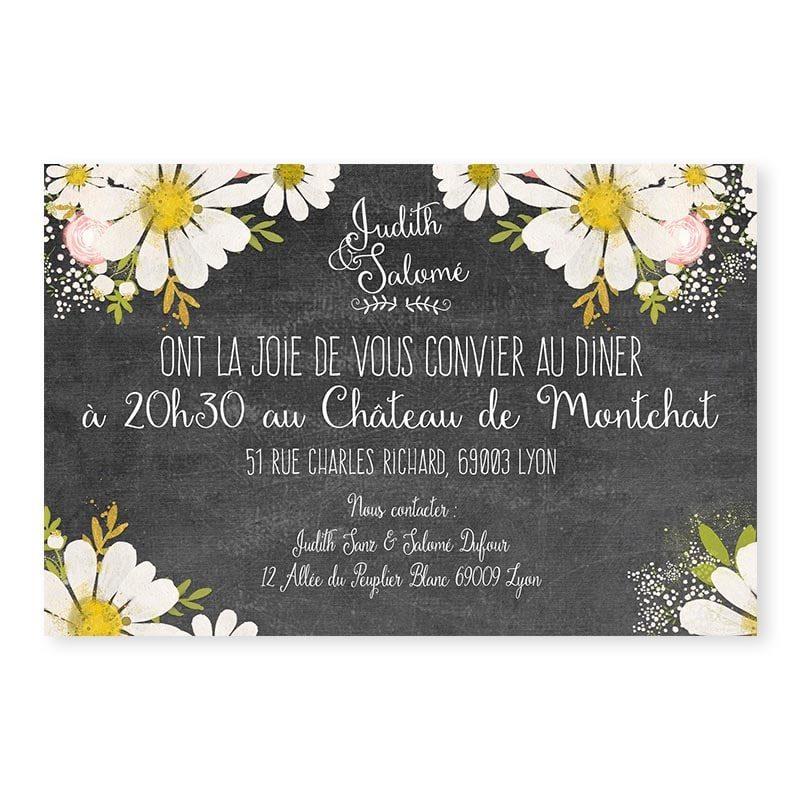 Invitation repas ardoise fleurie vintage