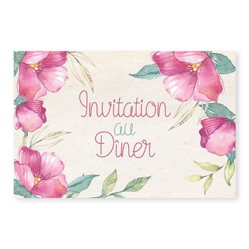 Invitation repas fleurs vintage mariage chic copie