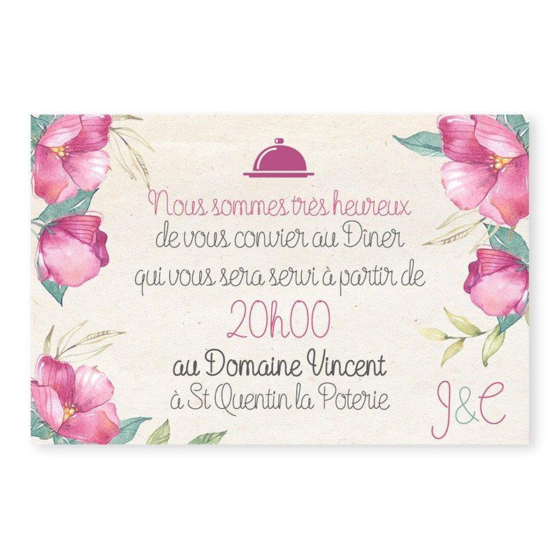 Invitation repas fleurs vintage mariage chic v