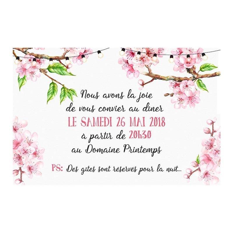 Invitation repas printemps romantique fleurs cerisier champêtre chic