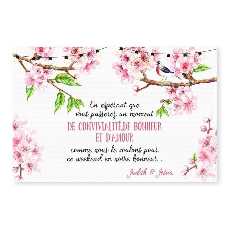Invitation repas printemps romantique fleurs cerisier champêtre chic v