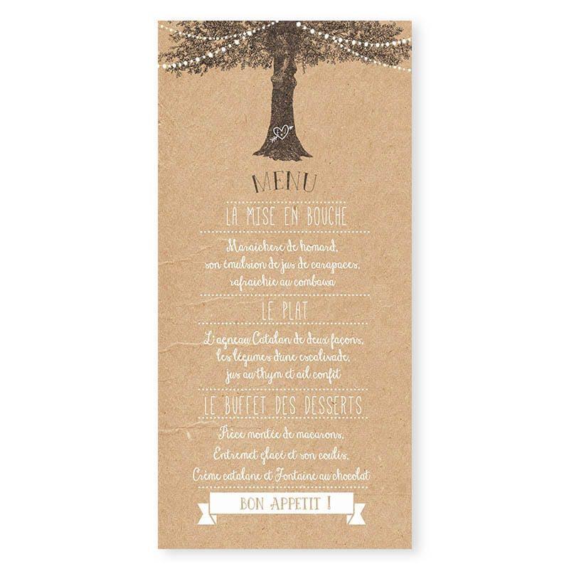 Menu mariage arbre rustique avec guirlandes sur papier kraft