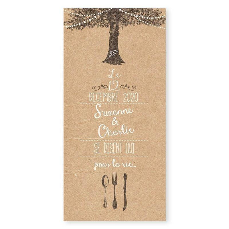 Menu mariage arbre rustique avec guirlandes sur papier kraft v
