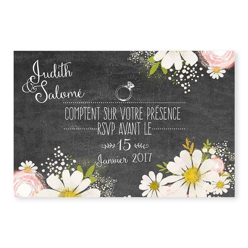RSVP mariage ardoise fleurie vintage v
