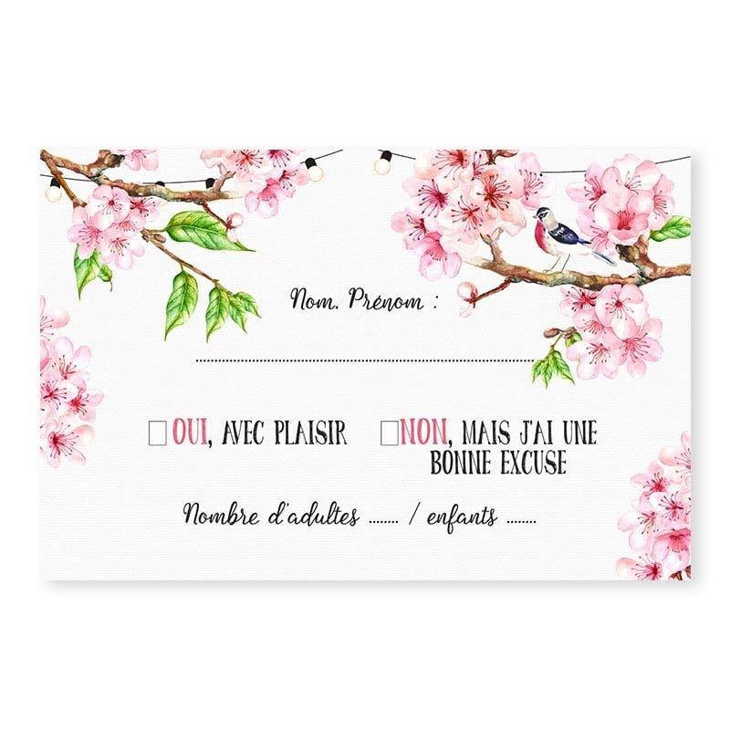 RSVP printemps romantique fleurs cerisier champêtre chic V