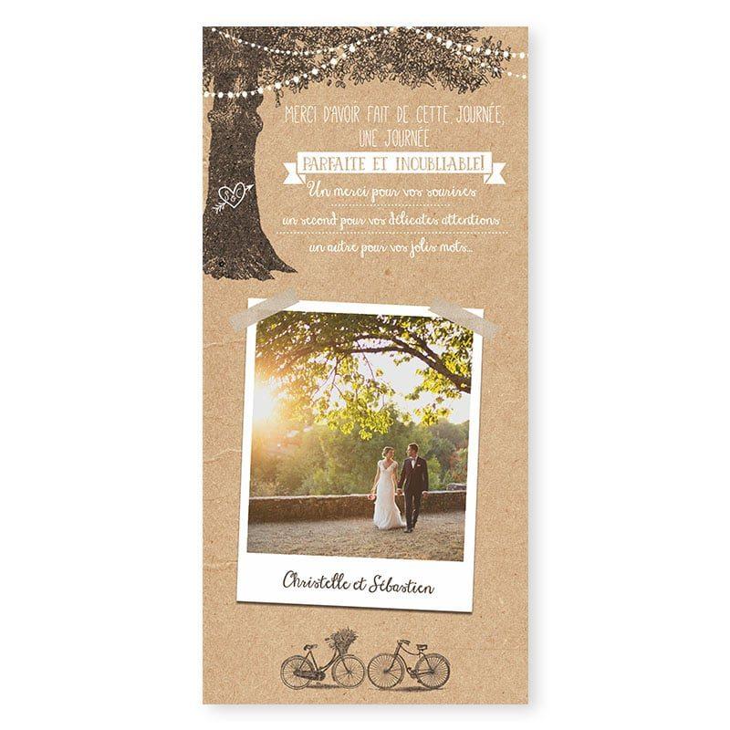 Remerciements mariage arbre rustique avec guirlandes sur papier kraft
