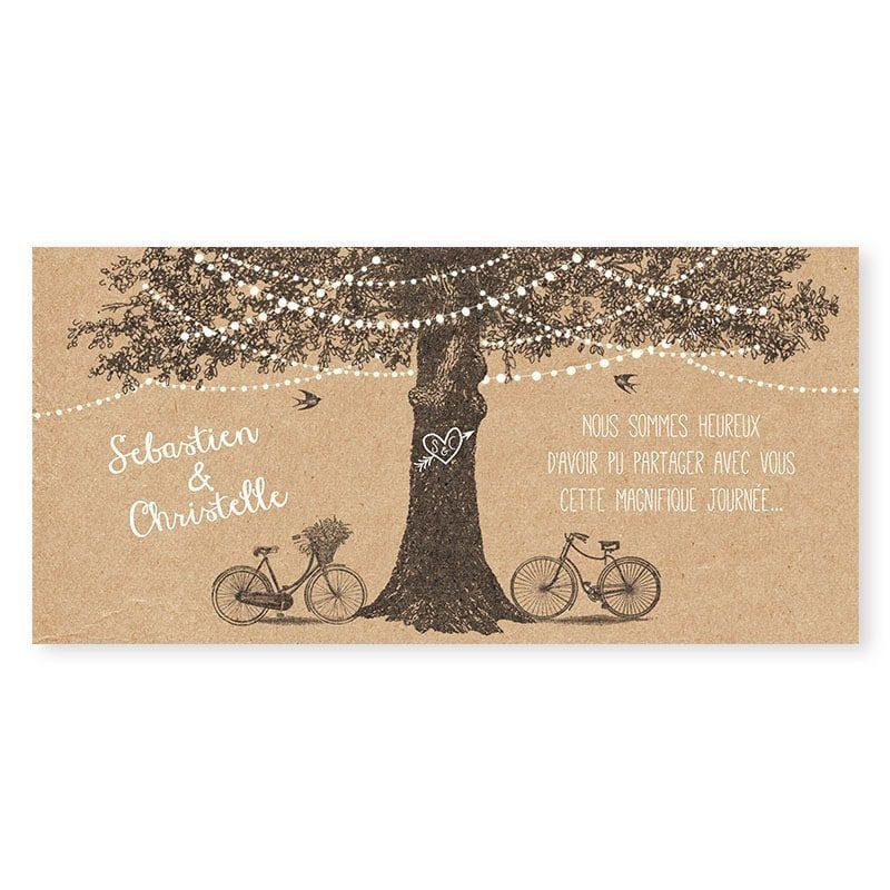 Remerciements mariage arbre rustique avec guirlandes sur papier kraft v