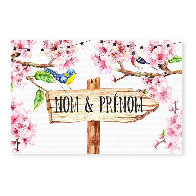 marque-place printemps romantique fleurs cerisier champêtre chic