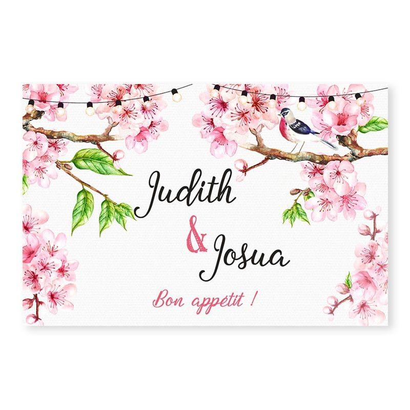 marque-place printemps romantique fleurs cerisier champêtre chic v