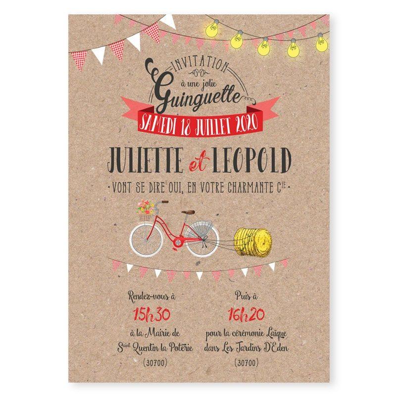 faire-part mariage ambiance guinguette guirlandes et fanions vichy vélo kraft