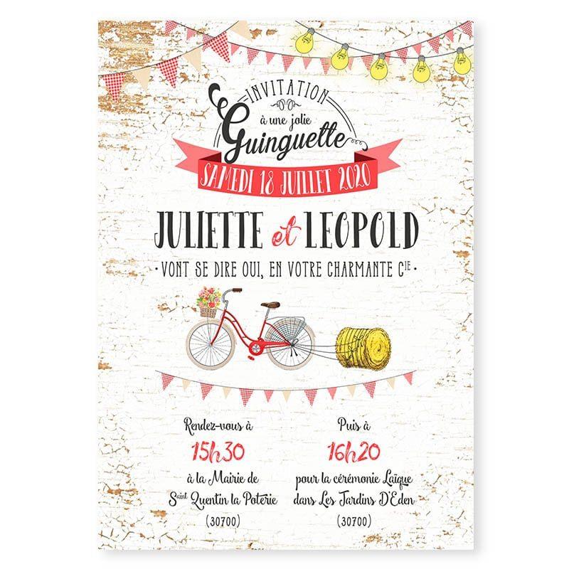 faire-part mariage ambiance guinguette guirlandes et fanions vichy vélo original
