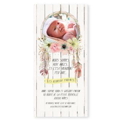 faire-part naissance attrape-rêves rose bohème plumes gipsy fille avec photo