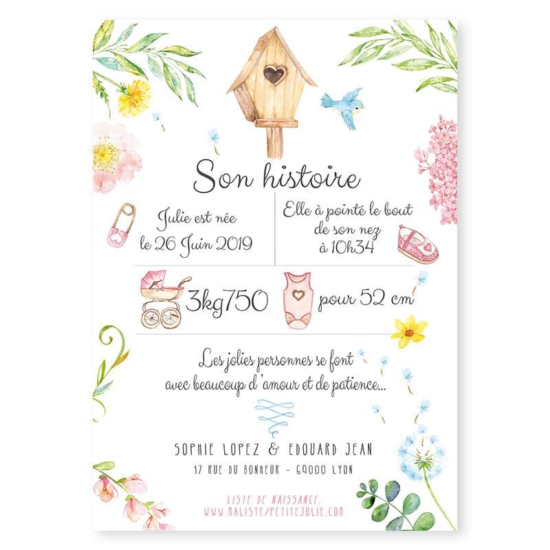 Faire Part Naissance Couronne De Fleurs Pastel Fille