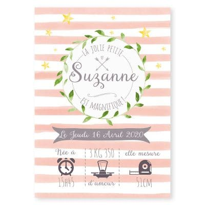 faire-part naissance couronne vegetale rayures pastel photo fille