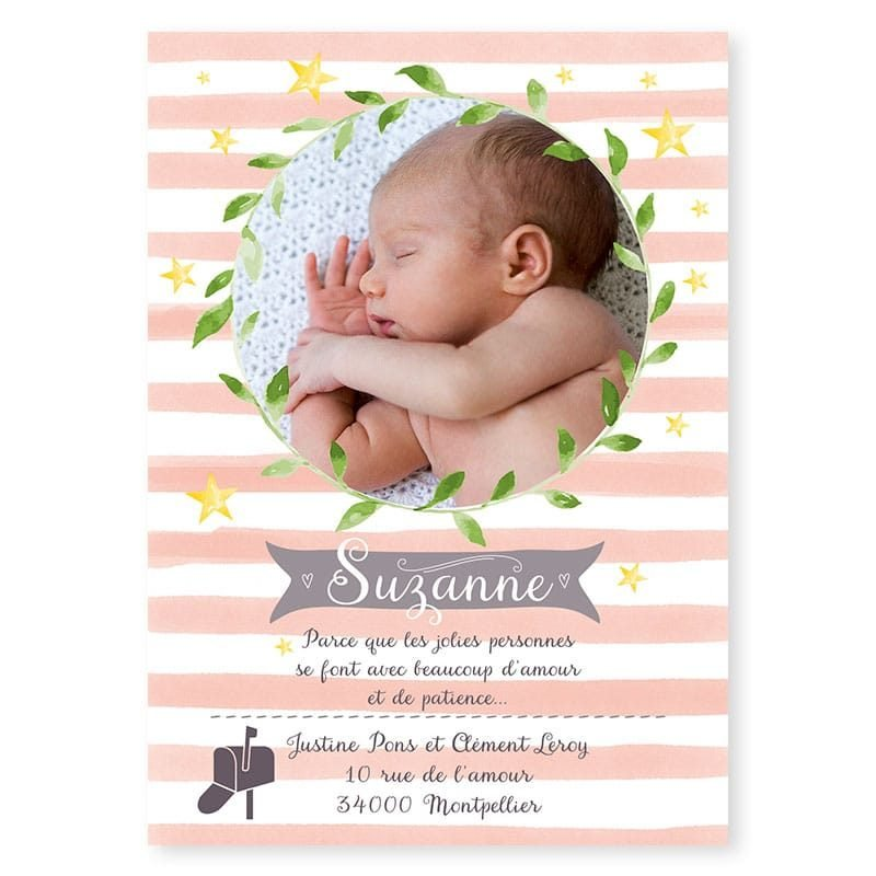 faire-part naissance couronne vegetale rayures pastel photo fille v