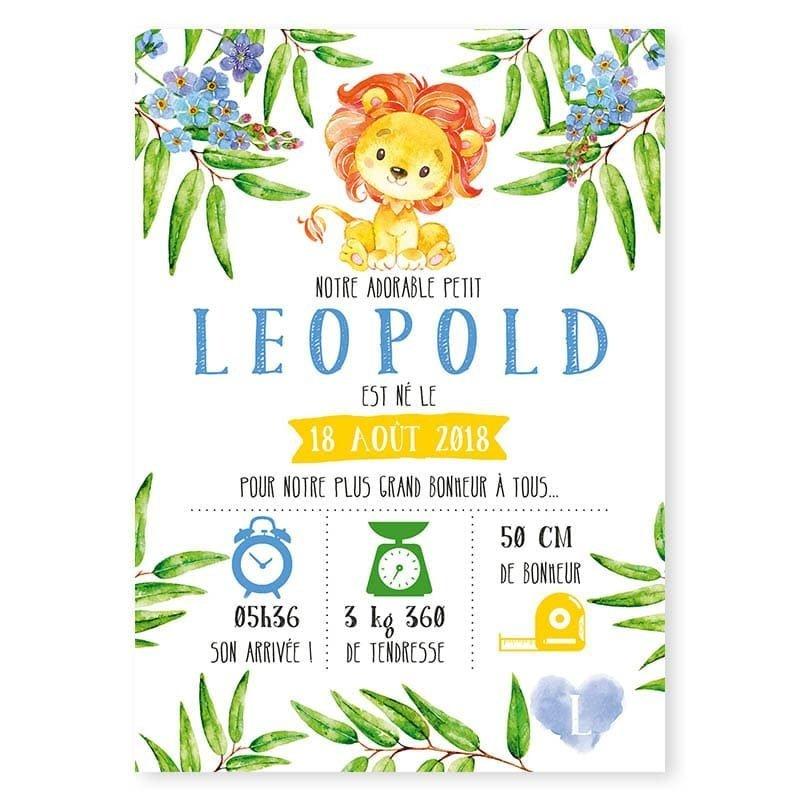 faire-part naissance lion fleurs créatif garcon