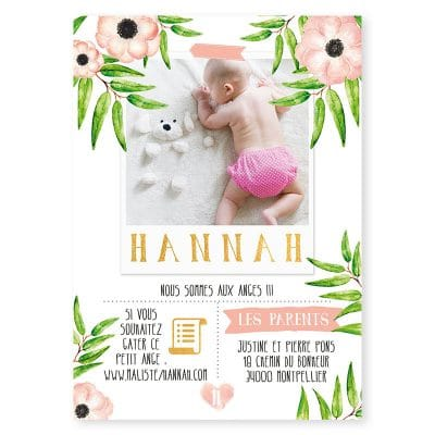 faire-part naissance ourson vegetal fleurs aquarelle photo