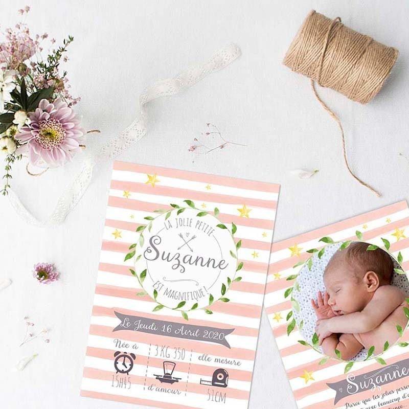faire-part naissance pastel fille avec photo à personnaliser