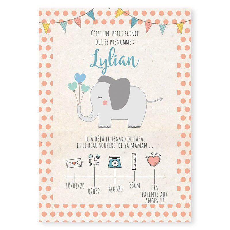 faire-part naissance vintage pois fanions elephant créatif pour garcon