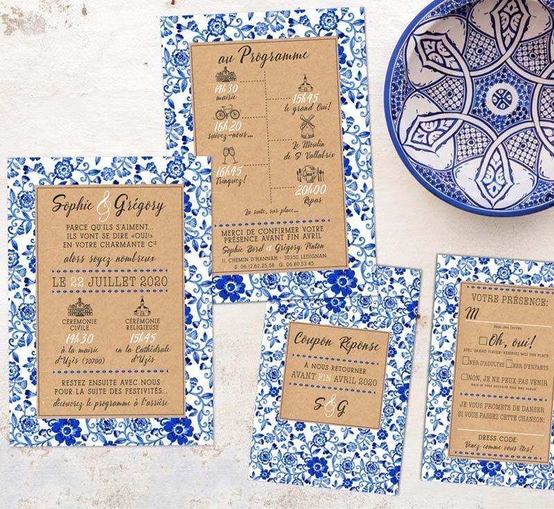 Faire-part mariage motif floral bleu blanc porcelaine chinois japon céramique kraft