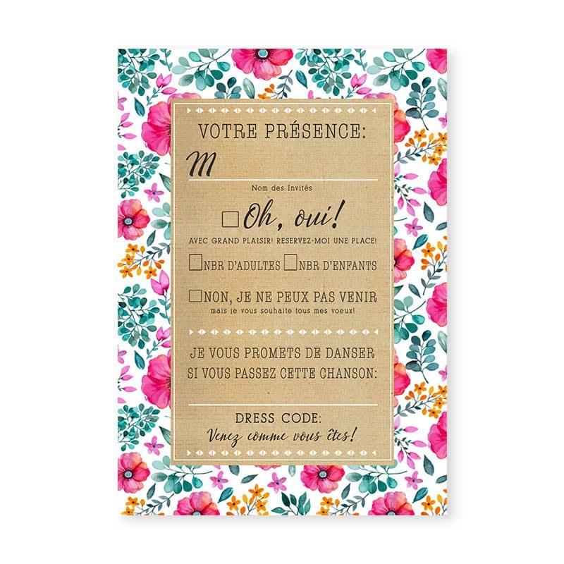 coupon réponse mariage champêtre liberty fleurs eucalyptus original chic