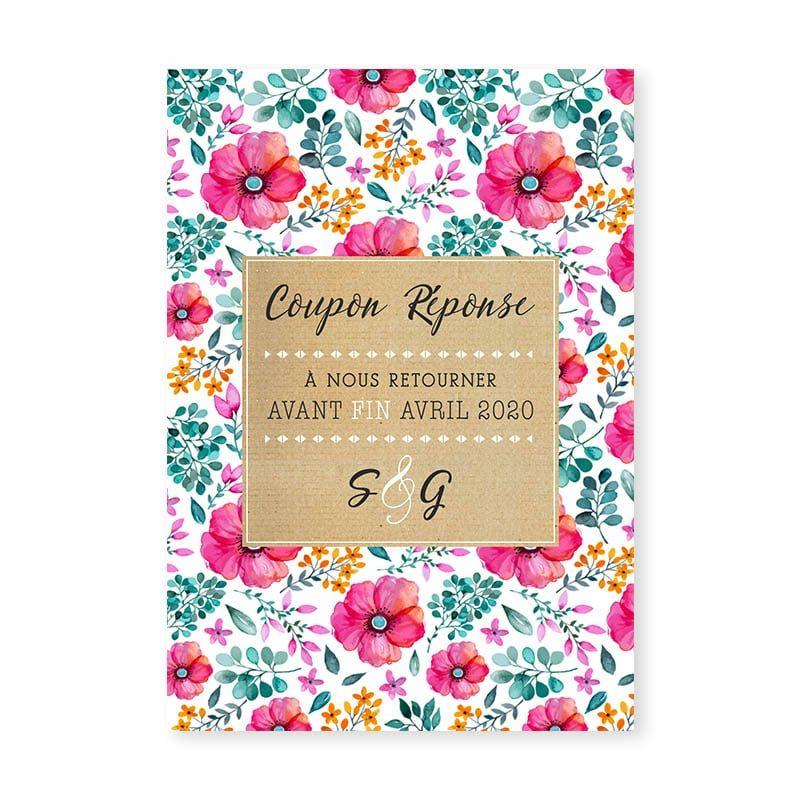 coupon réponse mariage champêtre liberty fleurs printemps eucalyptus
