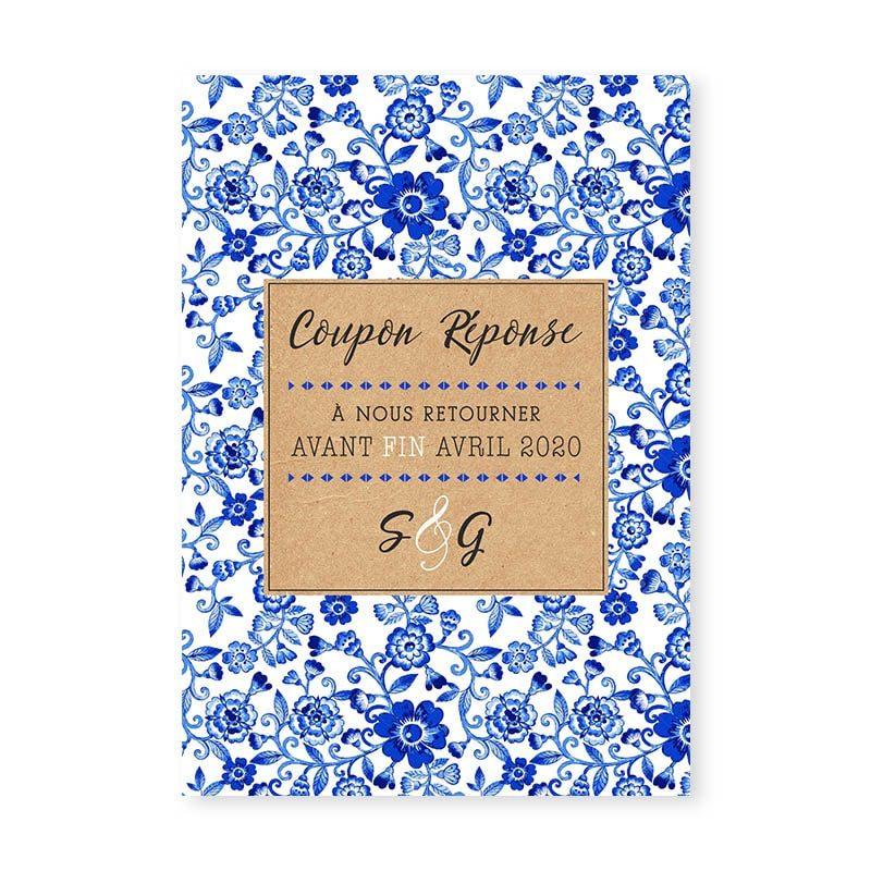 coupon réponse mariage motif porcelaine japonais chinois bleu blanc sur kraft chic