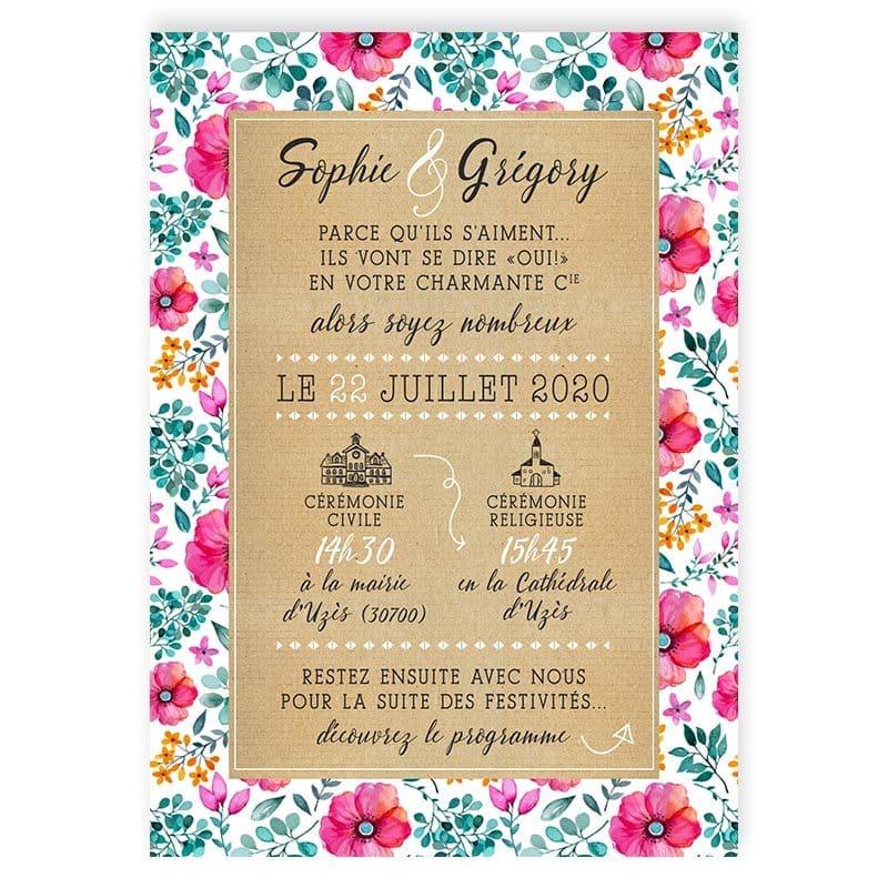 faire-part mariage champêtre motif liberty fleurs eucalyptus original