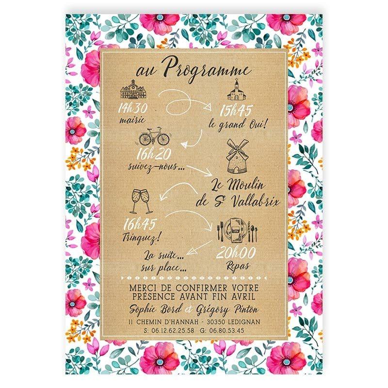faire-part mariage champêtre motif liberty fleurs eucalyptus original programme personnalisé
