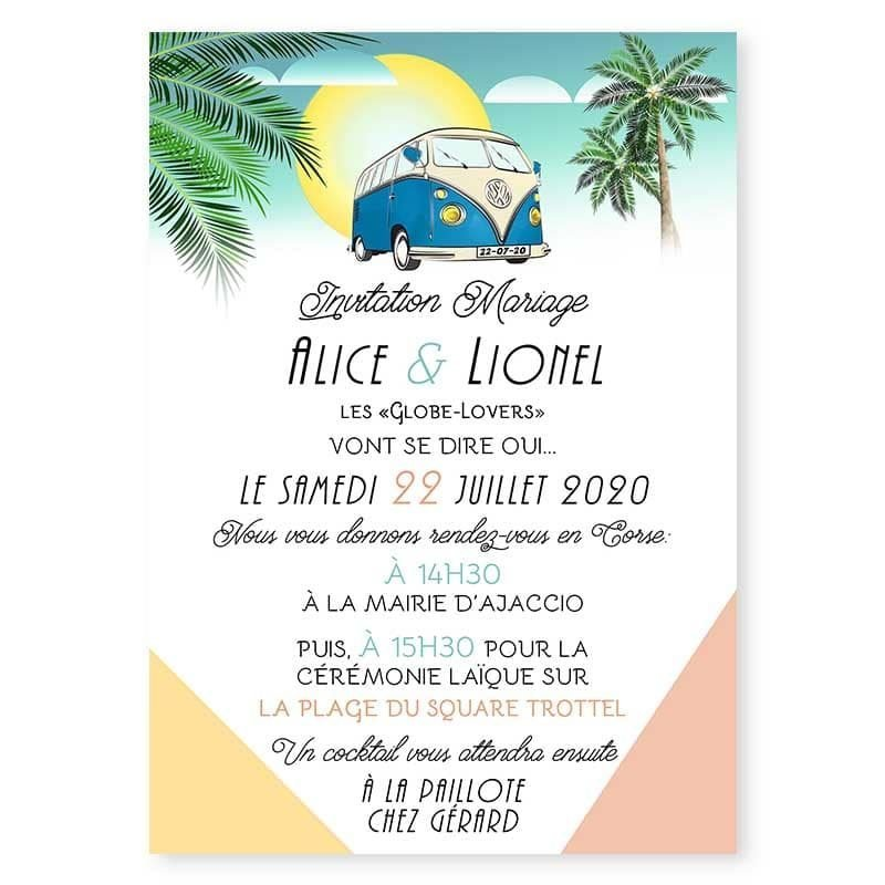 faire-part mariage combi van retro vintage exotique palmier plage voyage