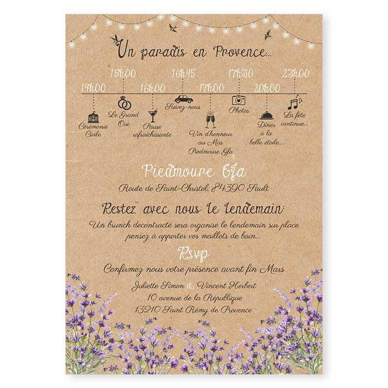 faire-part mariage lavande guirlandes programme kraft creatif original
