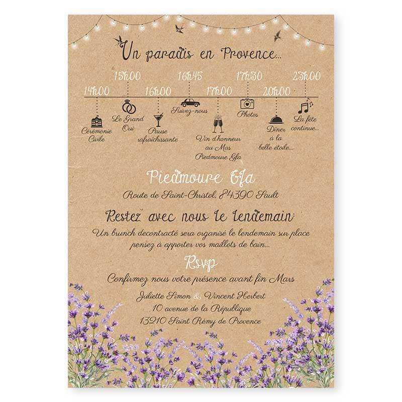 Faire Part Mariage Lavande En Provence Et Son Arbre Champêtre